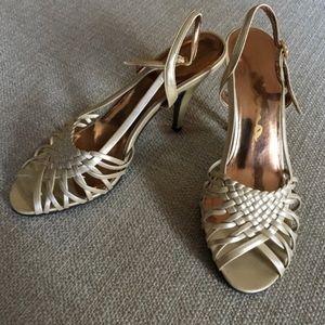Nina sling back woven peep toe pumps brushed gold